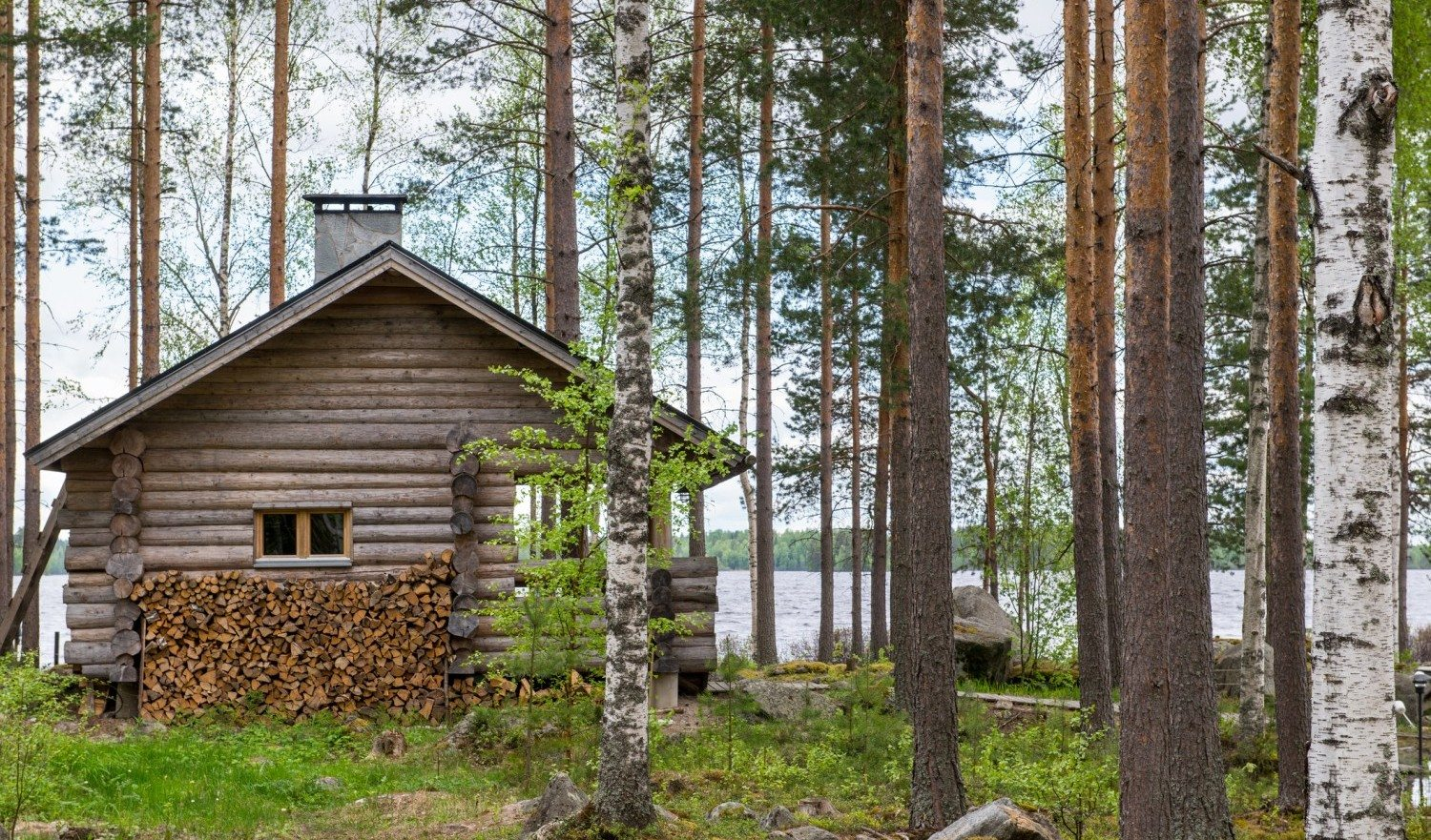 Finnish sauna made of logs.