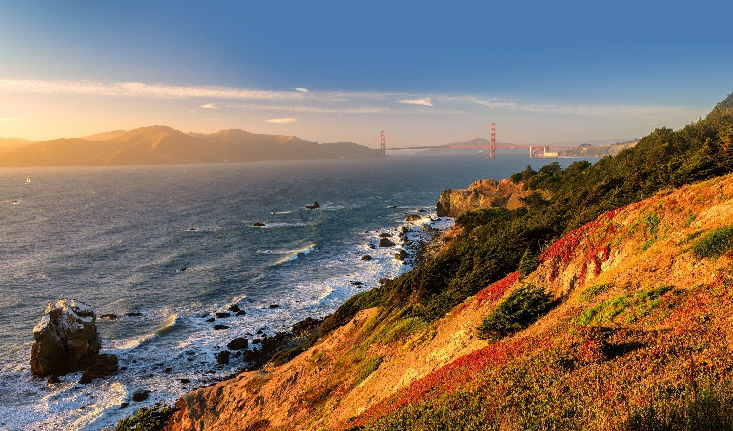 Golden Gate Gulf in San Francisco at sunset, California