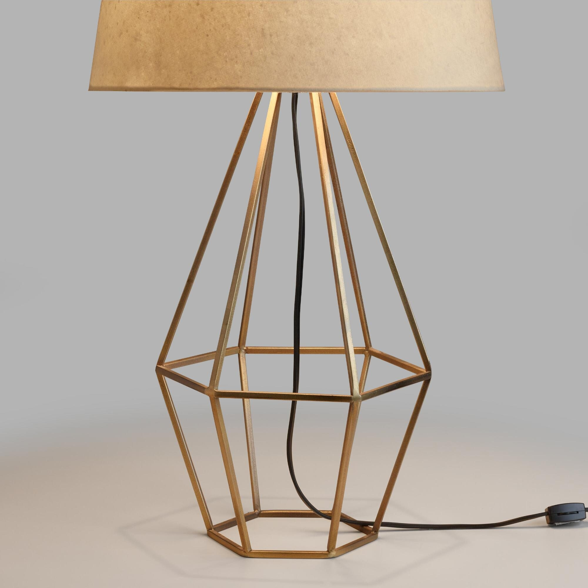 brass diamond table lamp