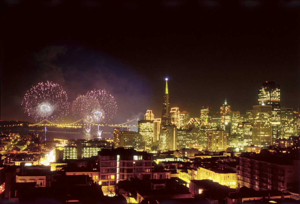 Fireworks display on New year's eve on the 1999/2000 new year.  Image taken from above the Broadway Tunnel from a roof top on Jones Street.  Image taken on chrome film and drum scanned.