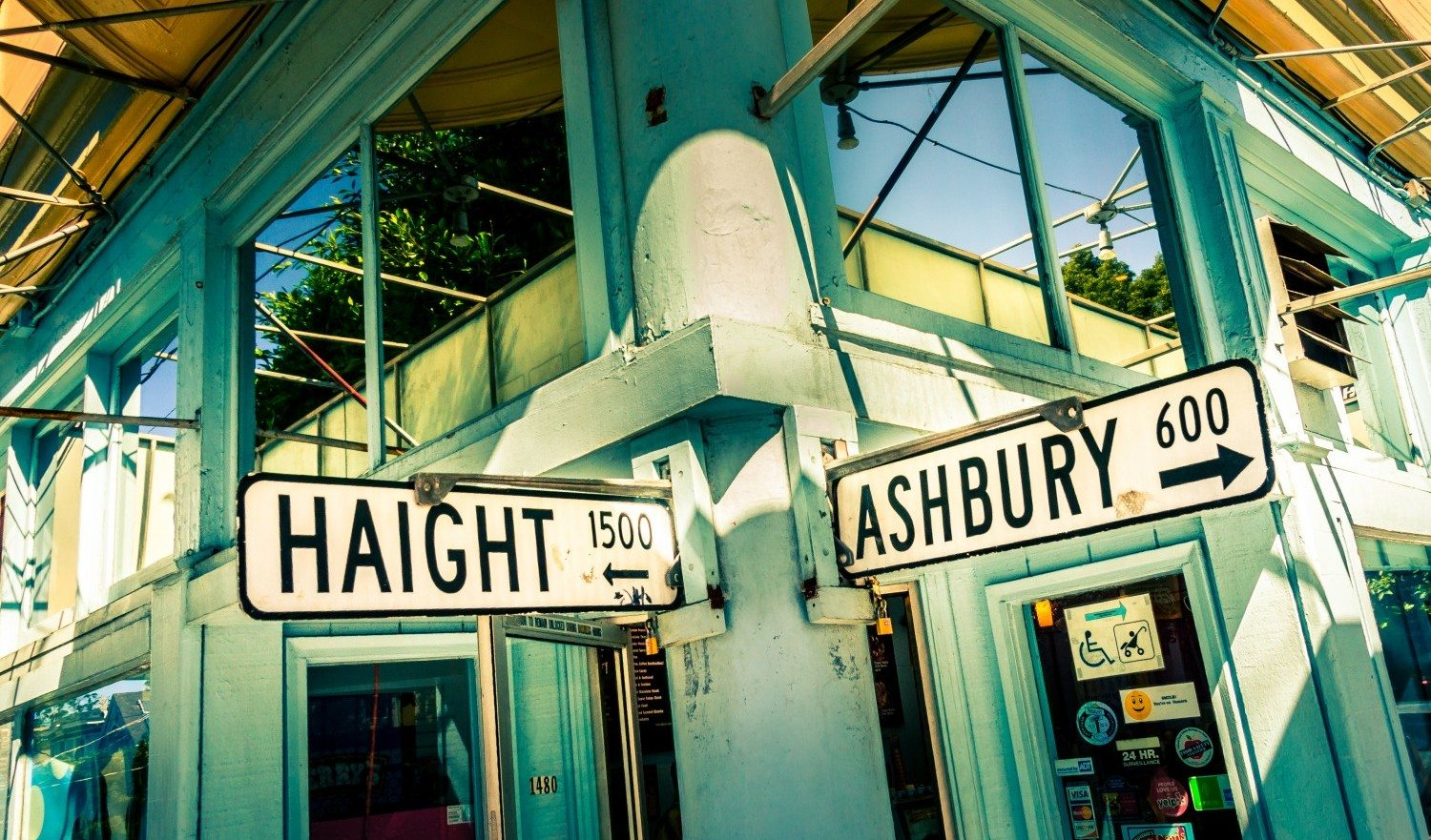 San Francisco, United States - September 21, 2015: Haight Ashbury street sign junction corner in San Francisco, California, USA