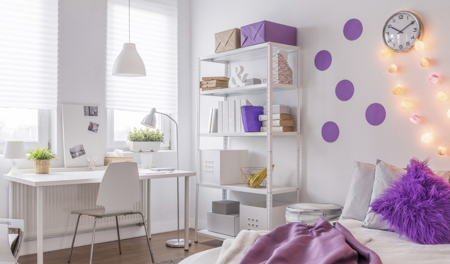 Photo of modern room with purple decoration