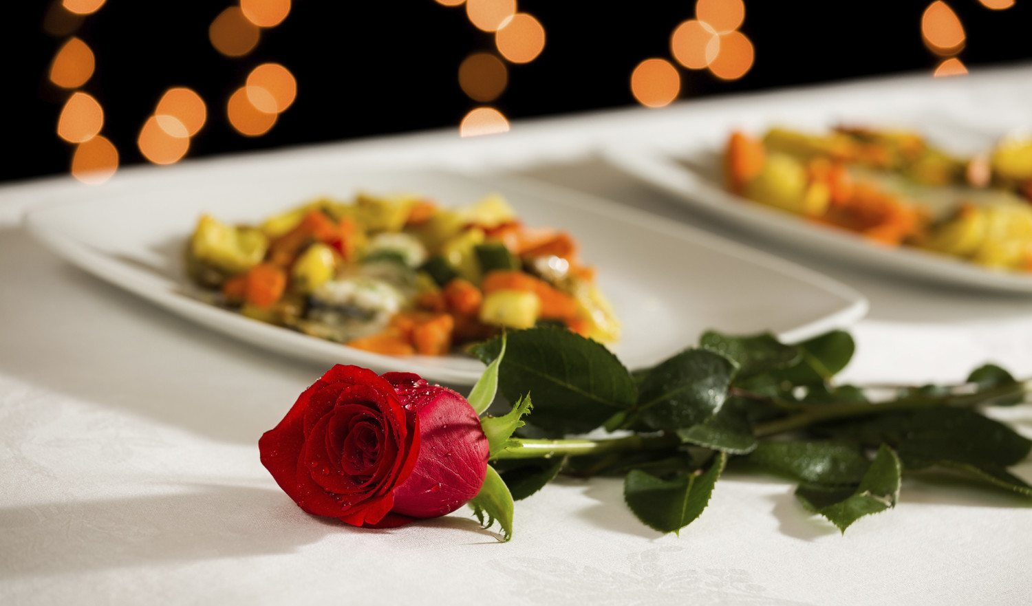 A rose for Valentine's Day dinner at the restaurant