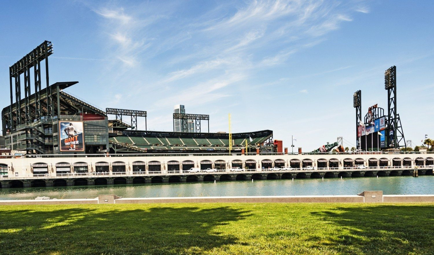 San Francisco, California, USA - May 7, 2014: This major legue Baseball Stadium known as AT&T Park the home of the San Francisco Giants located near McCovey Cove in China Basin located in the South of Market  area in this exciting city on this beautiful day with the sun the shadows, the views it was a great view .