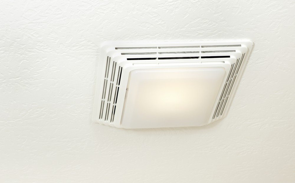 Bathroom ceiling exhaust fan and light.