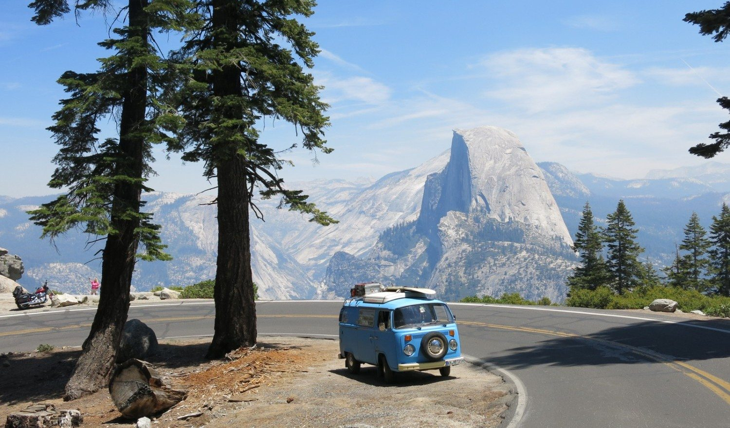 Yosemite National Park, Ca, USA, June, 19th, 2015 A 41 year old VW-BUS in front of Half Dome in Yosemite National Park, California