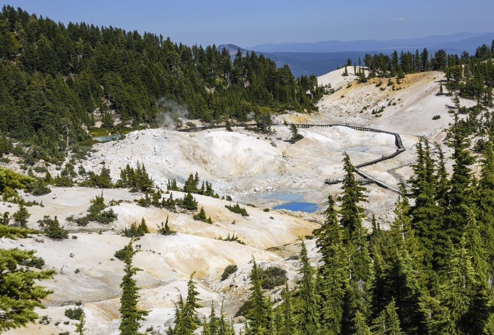Bumpass Hell is the largest hydrothermal area in Mount Lassen park. It's the main area of upflow of steam and discharge from the Lassen hydrothermal system. Mount Lassen is an active volcano in Northern California.